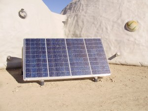 This is 380 watts of solar panels that provides power to the battery bank.