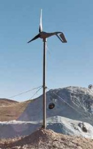 A small 300 watt wind turbin is a part of Project BIOHOMES power system.